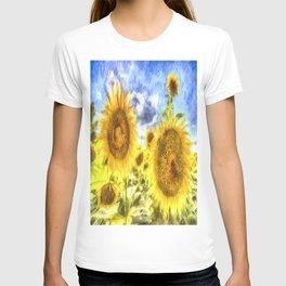 Summer Day Sunflowers Art T-shirt
