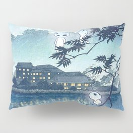 Kodama, Forest spirits vintage japanese woodblock mashup Pillow Sham