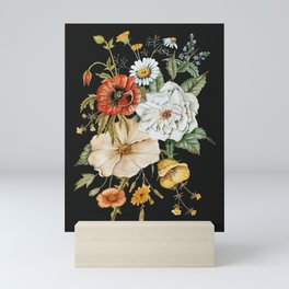 Wildflower Bouquet on Charcoal Mini Art Print
