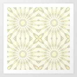 Beige Pinwheel Flowers Art Print