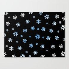 Snowflakes (Blue & White on Black) Canvas Print