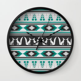 Ethnic pattern with foxes Wall Clock
