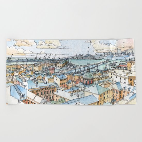 Panoramic of Genoa Beach Towel