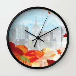New York in the Autumn Wall Clock