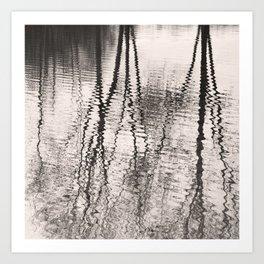 Mirroring. Lake reflections of trees. Art Print