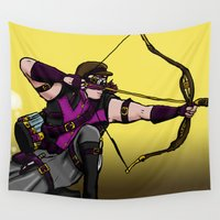 archer Wall Tapestries featuring Steampunk archer by mystmoon