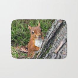 Nature woodland animals smiling squirrel Bath Mat