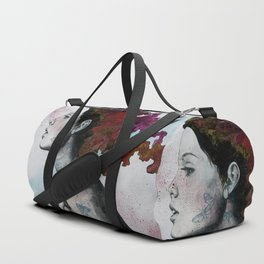 Moral Red Eclipse (colorful hair woman with moths tattoos) Duffle Bag