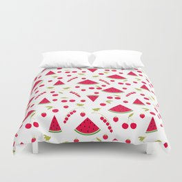 Seamless pattern watermelon cherry raspberry currant background Duvet Cover