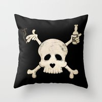 alcohol Throw Pillows featuring Cigarettes & Alcohol  by paddyroo