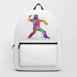 Baseball Player Softball Catcher Colorful Watercolor Sports Artwork Backpack