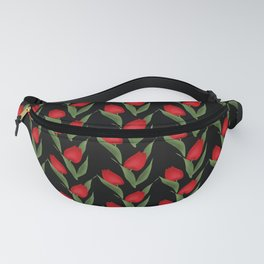 Tulips on black . Fanny Pack