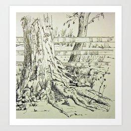 Tree at Fence Art Print