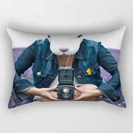 Bunny in a lavender field. Rectangular Pillow