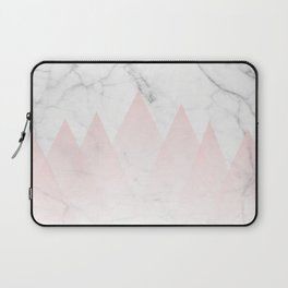 White Marble Background Pink Abstract Triangle Mountains Laptop Sleeve