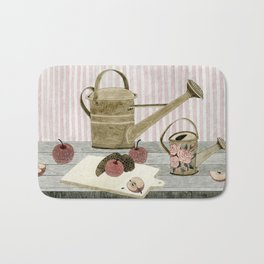 Watering Cans and Apples Bath Mat