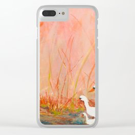 Gooses day out on the pond Clear iPhone Case