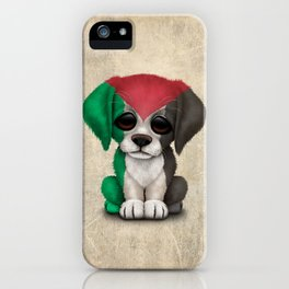 Cute Puppy Dog with flag of Palestine iPhone Case