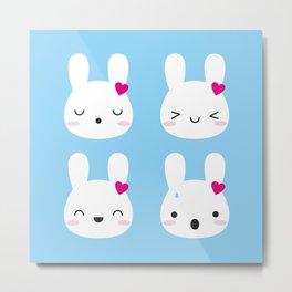 Kawaii Bunny Emotions Metal Print