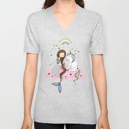 Mermaid & Unicorn White background Unisex V-Neck