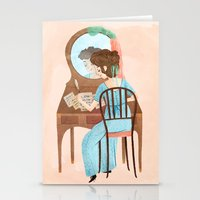 jane austen Stationery Cards featuring Jane Austen by Irena Freitas