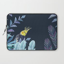 Cockatiel with tropical leaves and dark blue background Laptop Sleeve