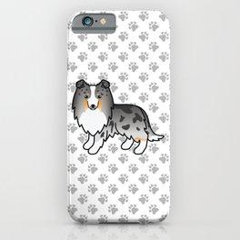 Blue Merle Shetland Sheepdog Dog Cartoon Illustration iPhone Case