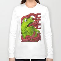 insects Long Sleeve T-shirts featuring Frogs eat Insects by ElenaTerrin