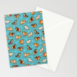 shibas in blue Stationery Cards
