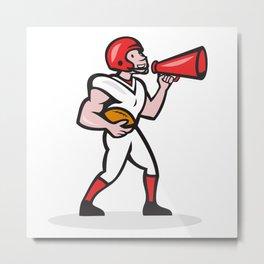 American Football Quarterback Bullhorn Isolated Cartoon Metal Print
