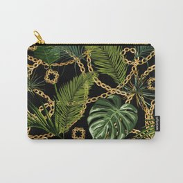 Tropical vintage Baroque pattern with golden chains, palm leaves, baroque elments on dark background. Classical luxury damask hand drawn illustration pattern. Carry-All Pouch
