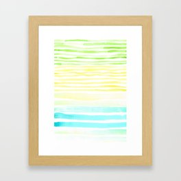Turquoise Riverglass Beach Stripes Watercolor Framed Art Print