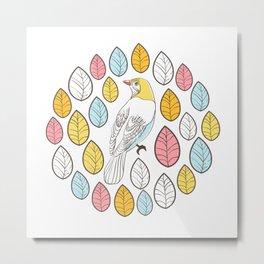 Birds and leaves Metal Print