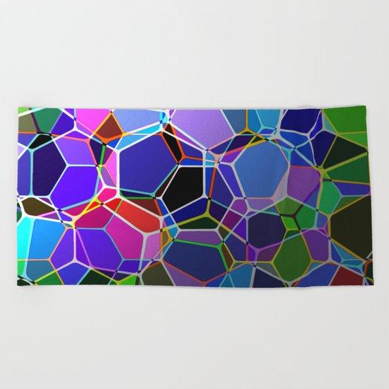 Geometric Genetics - Metallic, abstract, geometric pattern Beach Towel