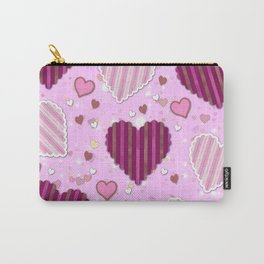 Pink Patchwork Hearts Carry-All Pouch