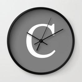 Darker Gray Basic Monogram C Wall Clock