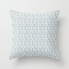 Blue Watercolor Peonies Floral Pattern Small Throw Pillow