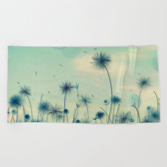Whimsical Indigo Dandelion Flower Garden Beach Towel