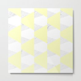 Yellow White Marble Triangles Metal Print
