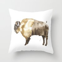 bison Throw Pillows featuring Bison by THE AESTATE