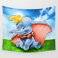 dumbo Wall Tapestries featuring Dumbo by DisPrints