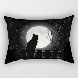 Silent Night Cat and full moon Rectangular Pillow