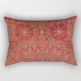 Bohemian Medallion II // 15th Century Old Distressed Red Green Colorful Ornate Accent Rug Pattern Rectangular Pillow