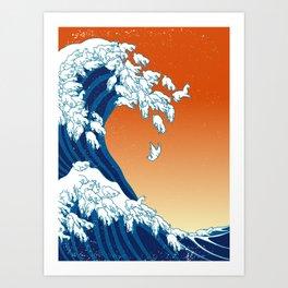 Llama Waves Art Print