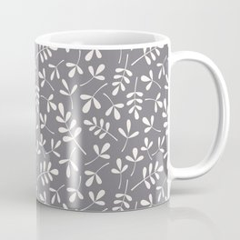 Assorted Leaf Silhouettes Cream on Grey Ptn Coffee Mug