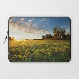 Serene landscape photo of meadow at sunrise Laptop Sleeve