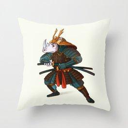 Rhino - Samurai Throw Pillow