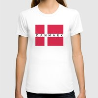 denmark T-shirts featuring denmark country flag danmark name text by tony tudor