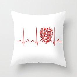 Chemistry Teacher Heartbeat Throw Pillow