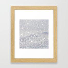 Silver Gray Glitter Sparkle Framed Art Print